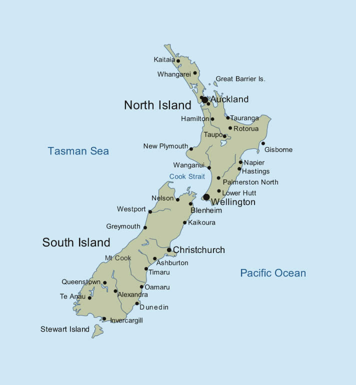New Zealand map with major cities