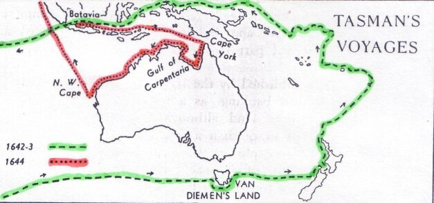 travels of Abel Tasman map