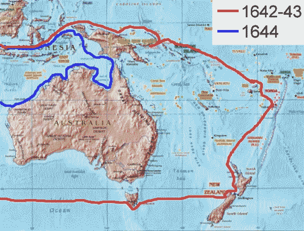 Abel Tasman route of the first and second voyage