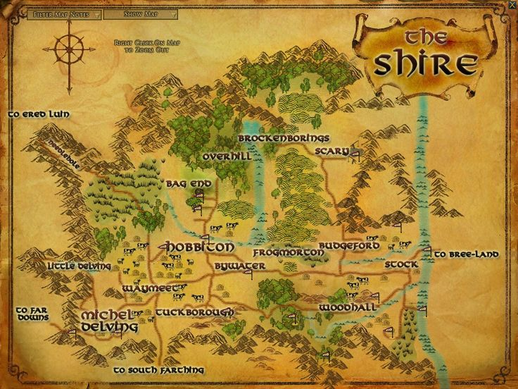 Lord of the Rings map of the Shire