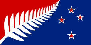New Zealand flag design Silver Fern (Red White Blue) by Kyle Lockwood
